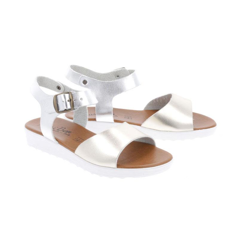 Sandale Dama MARIBON cu talpa joasa Auriu-Argintiu