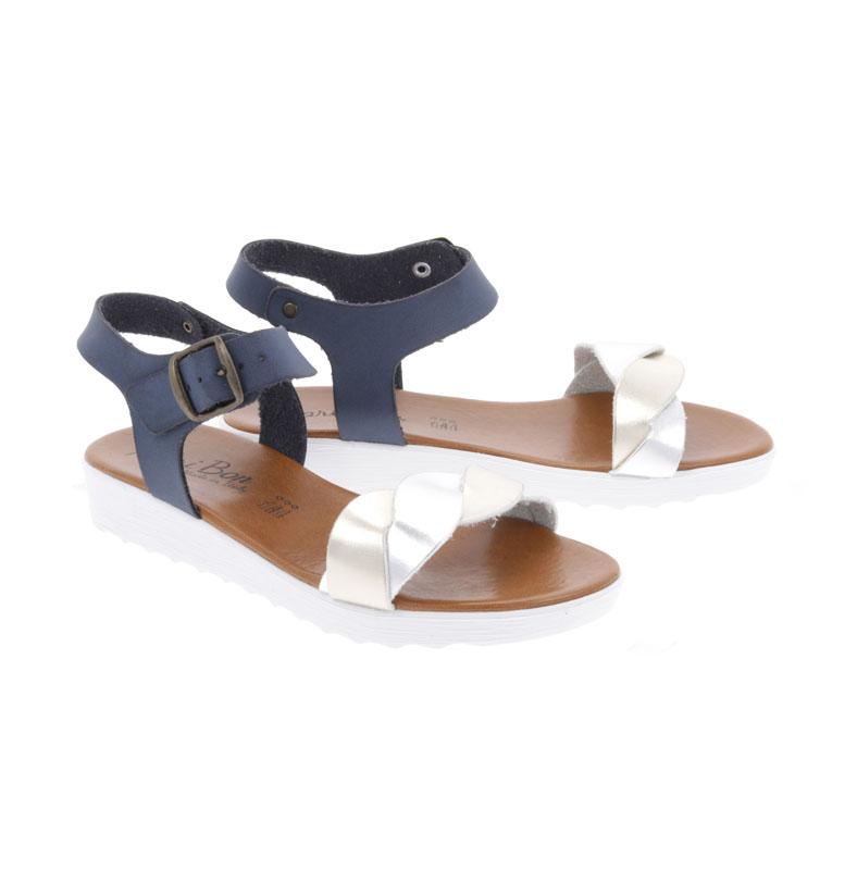 Sandale Dama MARIBON cu talpa joasa Auriu-Argintiu-Bleumarin